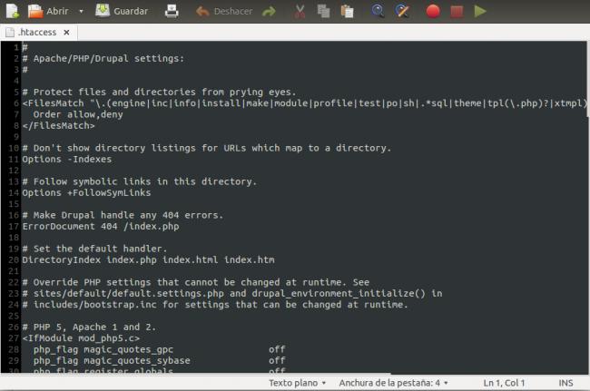 Archivo htaccess de Apache
