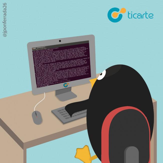 Tux aprendiendo Linux