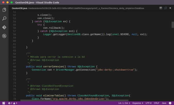 Codigo Java en VS Code